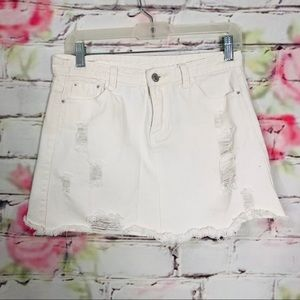 Dresses & Skirts - White distressed mini skirt